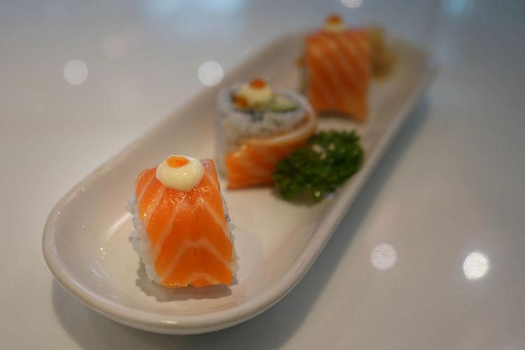 Asian Food Fish Food Japanese Food Rice Salmon Salmon Sushi Seafood Sushi Sushi Rolls