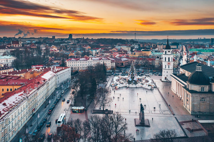 Cathedral square Capture Tomorrow Drone  Aerial View Aerial Mavic 2 Mavic 2 Pro Europe Lietuva Cathedral Square Winter Sunset Sun Architecture Building Exterior Built Structure City Cityscape High Angle View Sky Cloud - Sky Building Residential District Crowd Crowded Nature Travel Destinations City Life Street Transportation Outdoors