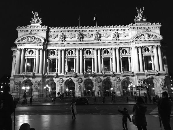 Bnw_echoes_of_the_past Bnw_friday_eyeemchallenge Architecture Building Exterior Travel Destinations Built Structure Night Group Of People Illuminated Low Angle View