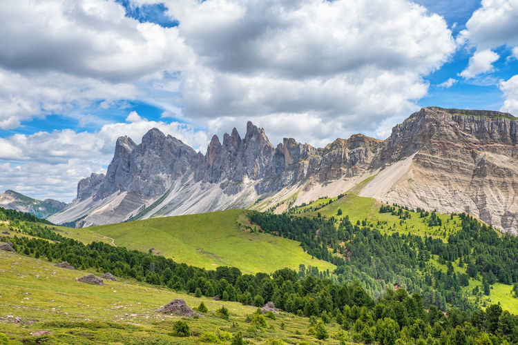 Scenic view at a mountain ridge in the dolomites