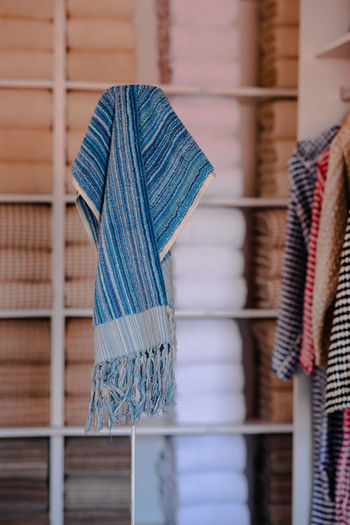 Close-up of multi colored towels placed in a shop