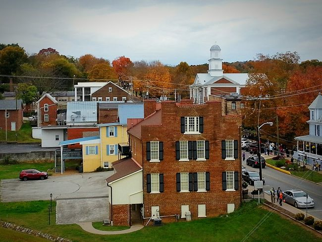 Hilltop view of tiny USA town Tennessee Historic Landscape Rural America Autumn🍁🍁🍁 Americana Scenicview