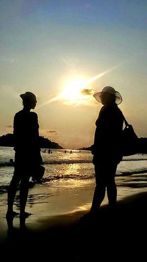 Feel The Journey Travel Photography Goa India Beach Sunset Sand & Sea Sisters ❤ Silhoutte Photography People Of The Oceans Original Experiences