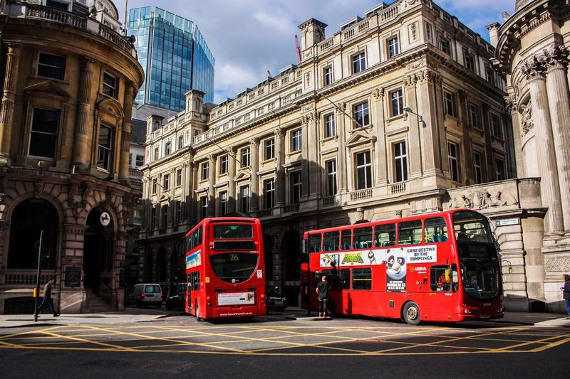 City Of London London Architecture Building Exterior Built Structure Bus City City Life Day Double-decker Bus Incidental People Land Vehicle Mode Of Transportation Motion on the move Public Transportation Red Street Transportation Travel Travel Destinations My Best Travel Photo