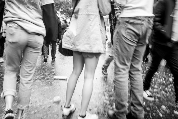 Miniskirt Beauty Photo444 Blackandwhite Black And White Streetphotography Documentary Fujifilm Fujifilm_xseries Fujix100f Group Of People Real People Day Women Adult Low Section Lifestyles
