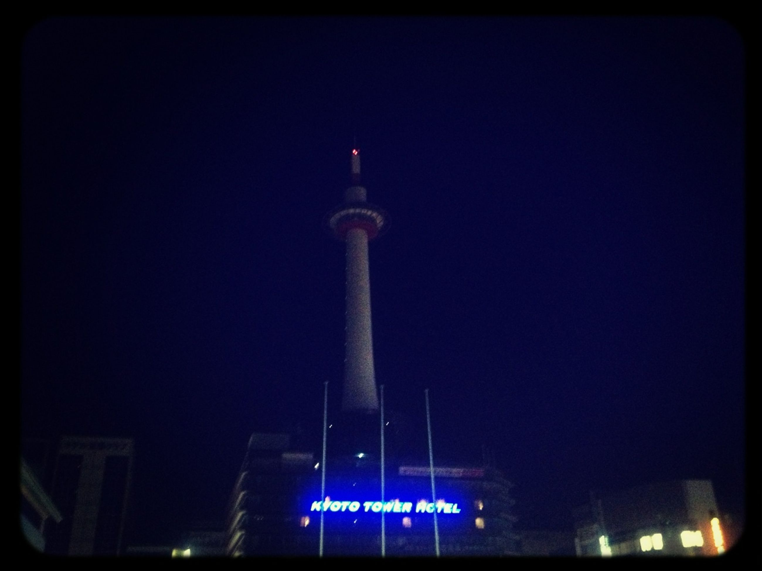 communication, low angle view, built structure, architecture, tower, illuminated, night, building exterior, communications tower, clear sky, tall - high, copy space, guidance, blue, auto post production filter, fernsehturm, transfer print, tall, city, lighting equipment