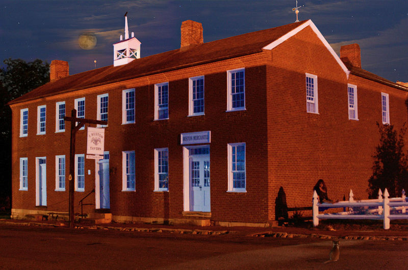 Arrow Rock Missouri Located at the start of the Santa Fe Trail, the J. Huston Tavern is the oldest continuously serving restaurant west of the Mississippi River. Architecture Arrow Rock Missouri Bingham's Cat Blue Building Building Exterior Built Structure City Day Exterior J. Huston Tavern National Register Of Historic Places Nature Night Photography Old Building  Outdoors Residential Building Santa Fe Trail Sky