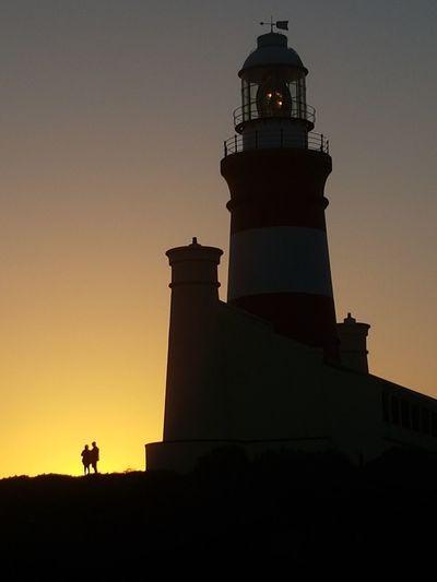 lighthouse lovers Sundown Coast South Africa Leuchtturm Südafrika Lovers Lovers Point Silhouette Sunset Architecture Tower Building Exterior Night Travel Destinations Lighthouse History Sky Outdoors