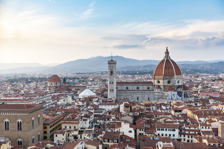 Duomo di Firenze Architecture Blue Sky Building Exterior Built Structure Campanile Di Giotto City City Life Cityscape Day Duomo Duomo Di Firenze Firenze High Angle View Italy Outdoors Santa Maria Del Fiore Sky Sky And Clouds Sunset Sunsets Town Tuscany Wide Shot