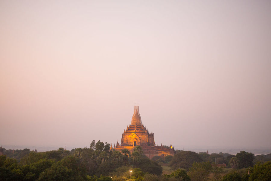 Ancient Ancient Civilization Architecture Bagan Bagan, Myanmar Belief Building Exterior Built Structure Copy Space Fog History Nature No People Outdoors Place Of Worship Religion Sky Spirituality Sunset The Past Travel Travel Destinations Tree
