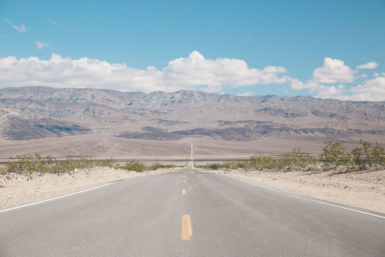 Arid Climate Arid Landscape California Cloud - Sky Day Death Valley Death Valley National Park Desert Dividing Line Landscape Mountain Mountains Nature Nature No People Outdoors Remote Road Road Marking Roadtrip Scenics Sky The Way Forward Tranquil Scene Transportation