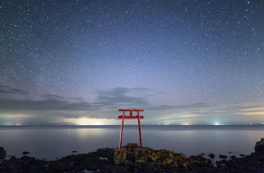 Sea Sky Night Horizon Over Water Nature Tranquility Beauty In Nature Water Star - Space Cloud - Sky No People Outdoors Astronomy Galaxy