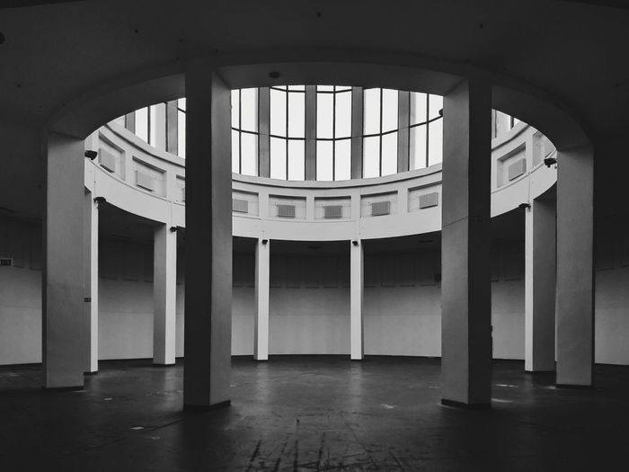 Interior of building with skylight