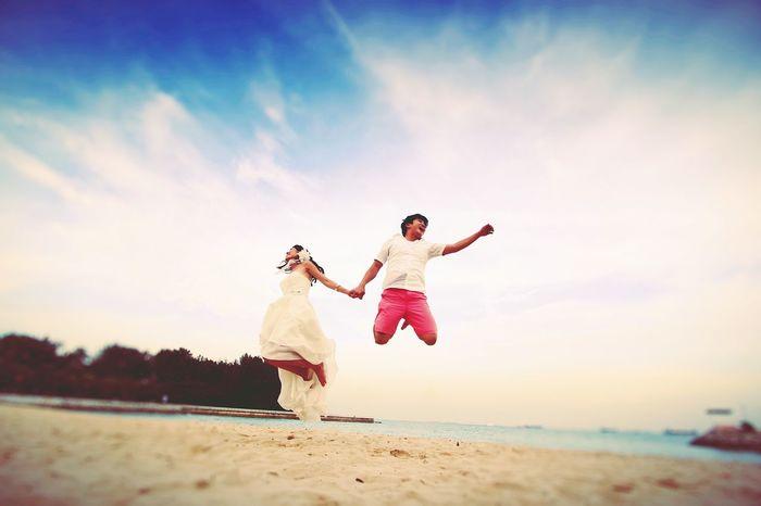 Jump for joy Prewedding Eastcoastpark Singapore Wedding Photography Taking Photos Jumping Couple Love Canon 1DMarkIII Pre Wedding Moments Wedding Photography