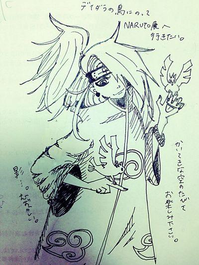 I want to go to NARUTO-Ten!! Art RAKUGAKI Naruto Deidara Birds
