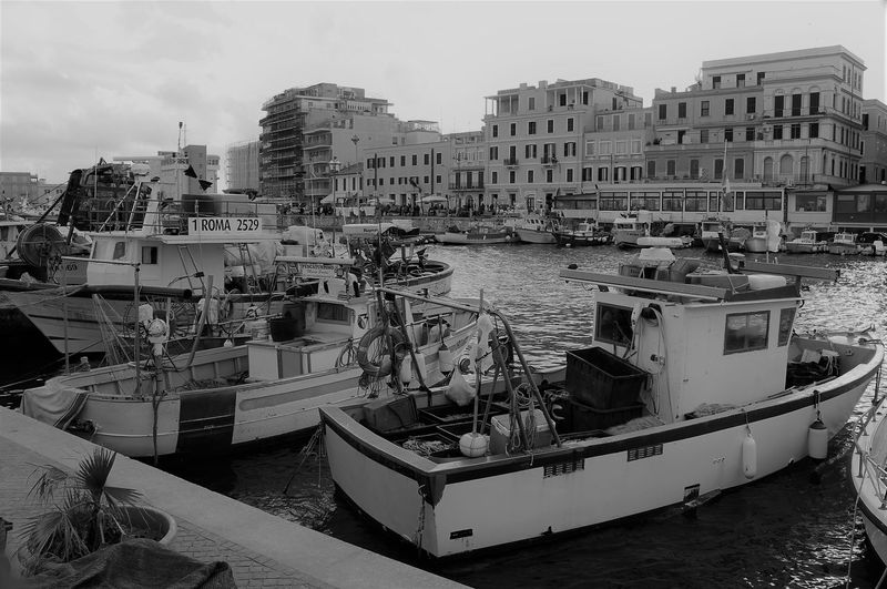Boats moored in harbor against buildings in city