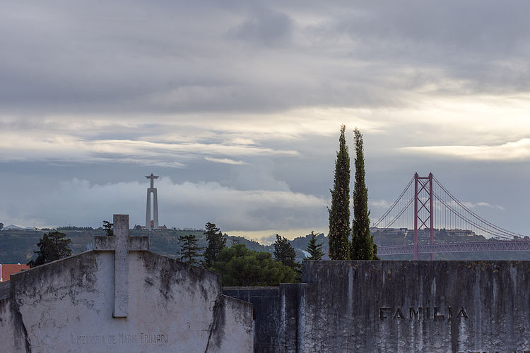 View of bridge and buildings against cloudy sky