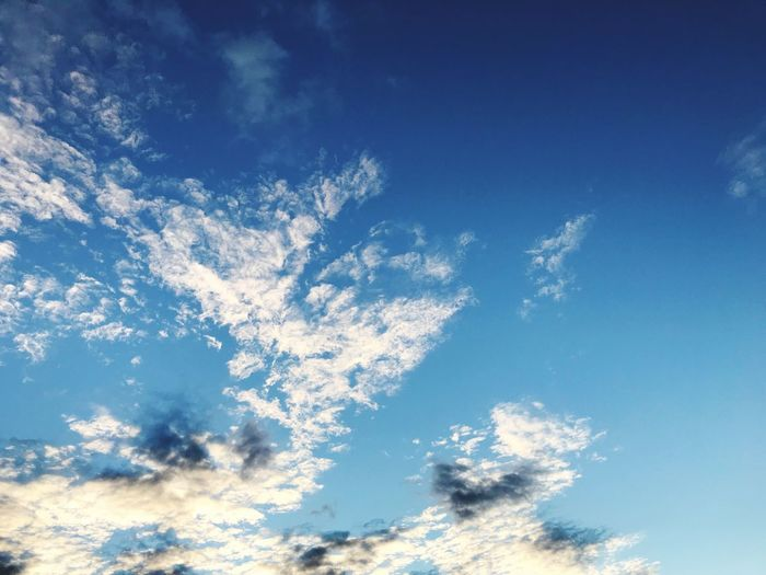 Blue Sky With Clouds Sky Blue With Clouds Sky Blue Cloud - Sky Low Angle View Beauty In Nature Nature Tranquility Tranquil Scene Scenics - Nature Backgrounds Full Frame Outdoors Day Sunlight Infinity Non-urban Scene
