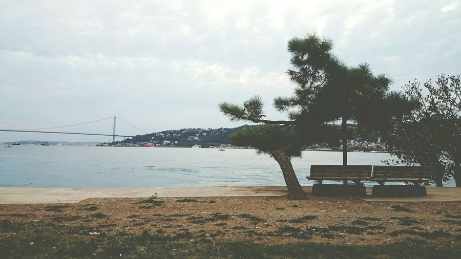 View of suspension bridge on beach
