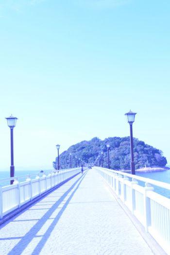 蒲郡の竹島 The Way Forward Clear Sky Street Light Connection Japan Japan Photography Blue Copy Space Long Snow Mountain Railing Diminishing Perspective Solitude Vanishing Point Tranquil Scene Day Tranquility Walkway Outdoors Narrow