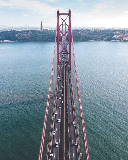 High angle view of bridge over sea against sky