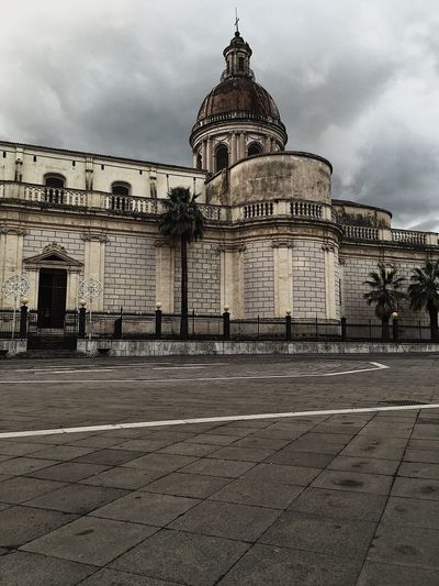 Foggy Sicily Italy Europe Architecture Building Exterior Built Structure Cloud - Sky Sky Building Nature City Travel Destinations History No People Outdoors The Past Travel Text Day Dome Religion Communication
