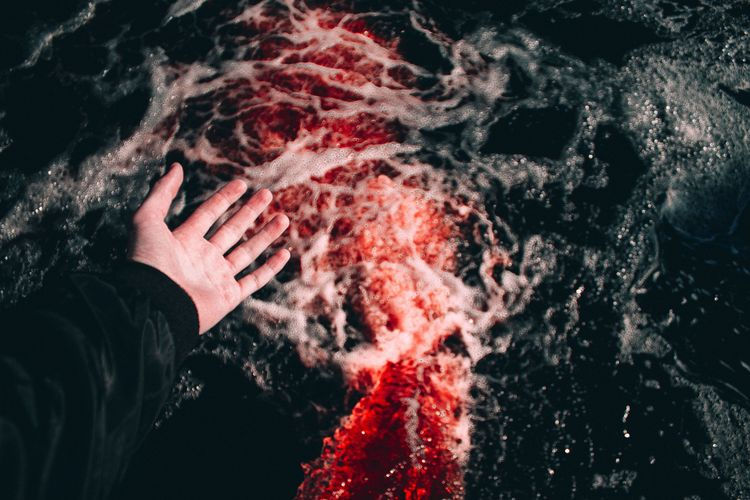 High angle view of hands in sea