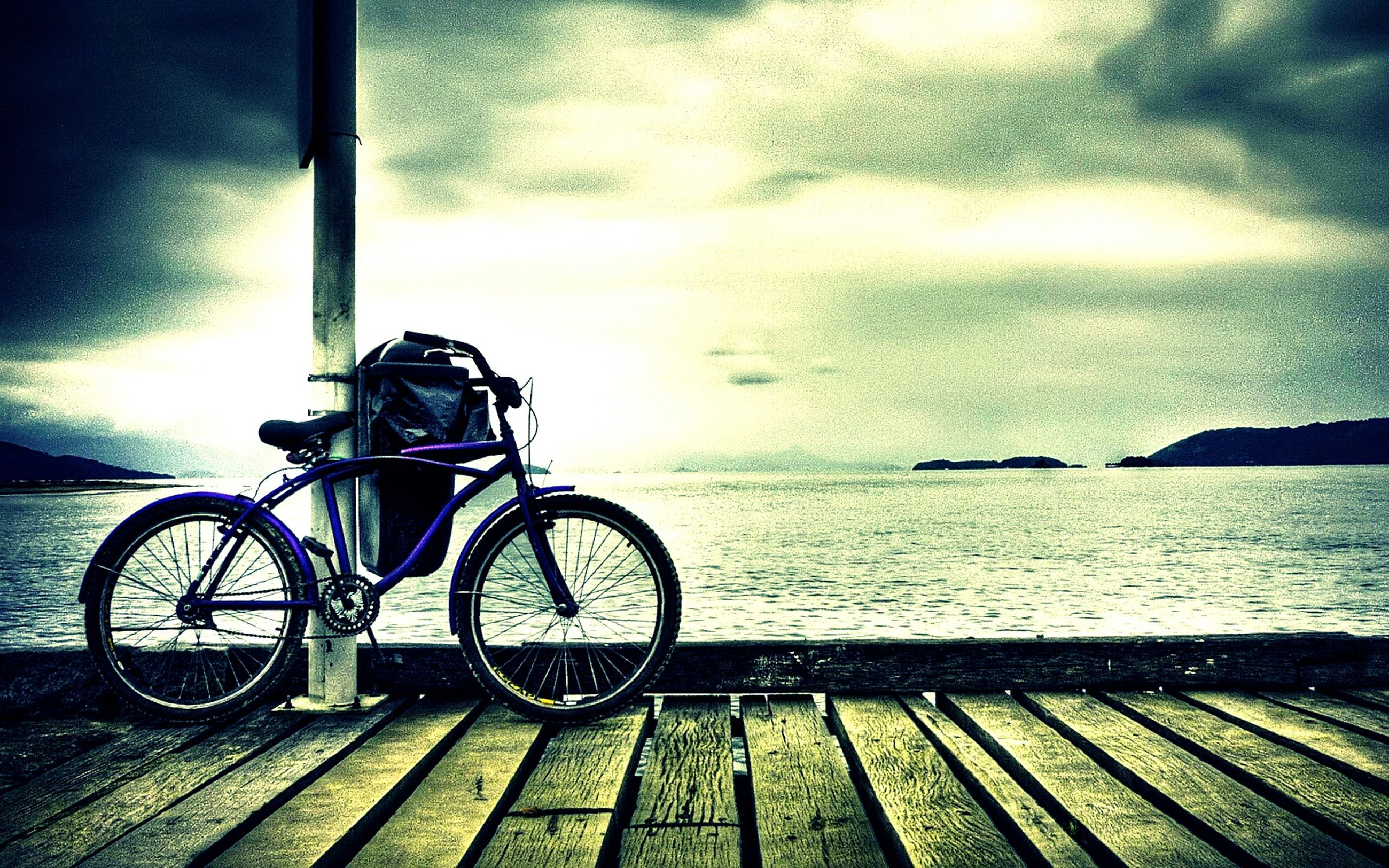 bicycle, sea, transportation, water, nature, mode of transport, land vehicle, outdoors, no people, day, sky, beauty in nature, horizon over water