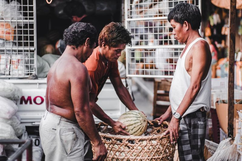 People working in basket