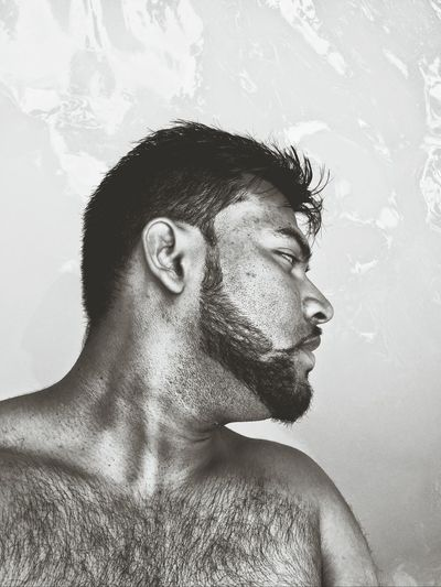 The Human Condition Man Being A Man Shades Of Grey Hairychest  EyeEm Best Shots - Black + White The Portraitist - 2015 EyeEm Awards B&W Portrait Black And White Collection  The Amazing Human Body