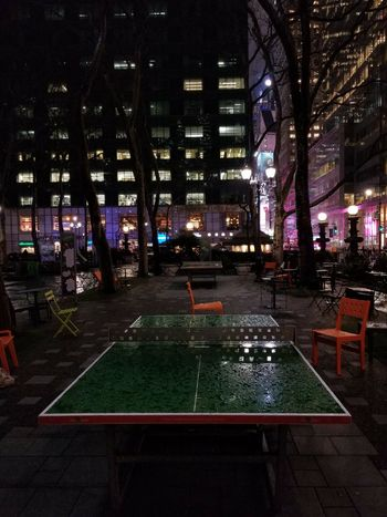 Bryant Park #photography Nightphotography NY Water Nightlife Ping Pong Rain Timesquare #NYC Raindrops City Night Sport Illuminated Architecture City
