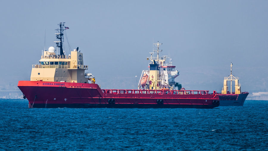andrea chouest Andrea Chouest Blue Clear Sky Day Drilling Rig Freight Transportation Harbor Harbor Industry Mode Of Transport Moored Nature Nautical Vessel Offshore Platform Oil Industry Outdoors Port Sailing Ship Sea Ship Shipping  Sky Transportation Water Wave