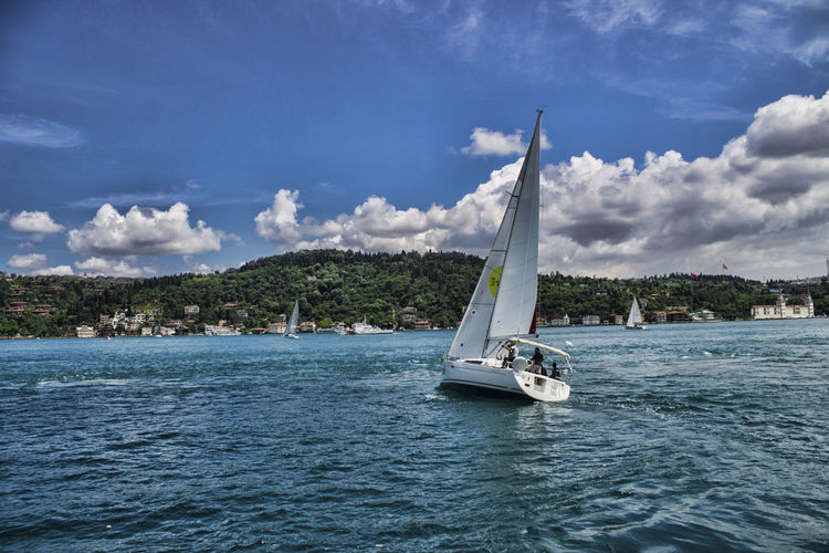 View of sailboat on river