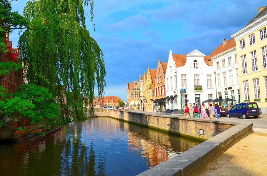 Architecture Blue Skies Canal City Life Cityscape Pathway Perspective Reflection Reflections Sunny Sunny Day Tourists Town Urban Water