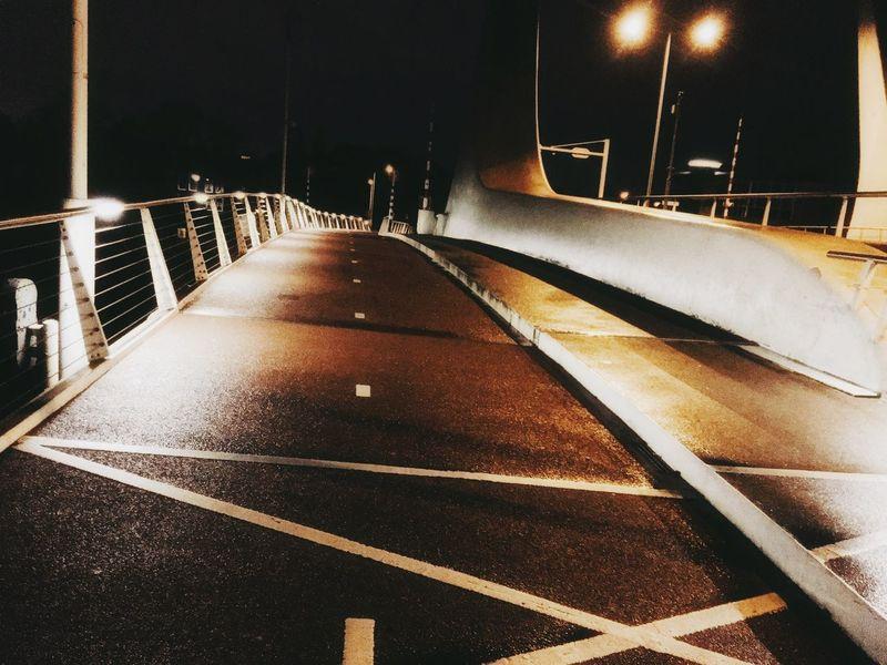Bridge. Nightwalk Bridge Nightlights Jogging Zaandam