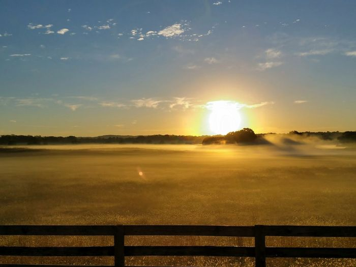 Sunrise over fog Farm Land Meadow Foggy Morning Cgk Photography Sunrise Sunrise_Collection Reflection Sky No People Nature Landscape