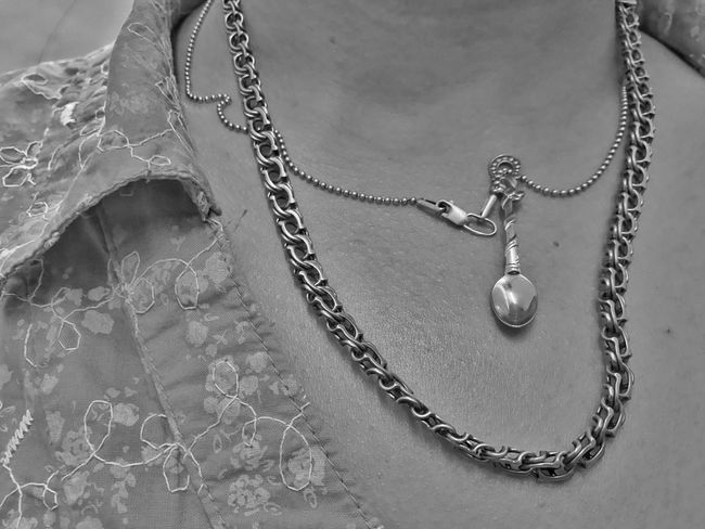 Skin NotYourCliche Not Your Cliche Closeup Neck Chain Real People Black And White Photography Black & White Skin Necklace Jewelry Chain No People Close-up Metal Still Life Personal Accessory Design Focus On Foreground Fashion