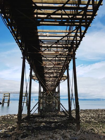 Under the pier Underneath The Bridge The Mumbles Pier Water Sea Beach Technology Industry Sky Horizon Over Water Architecture Cloud - Sky Built Structure Steel Fishing Industry