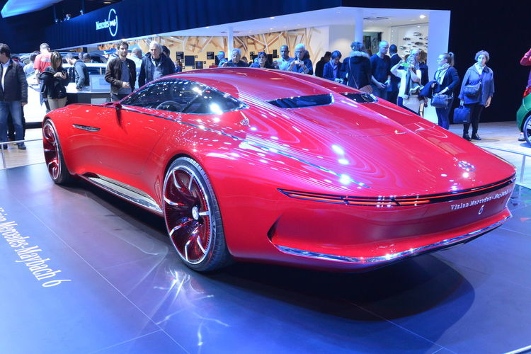 Car Concept Car Indoors  Luxury Car Maybach Mercedes Mercedes Maybach Mercedes-Benz Paris International Motor Show 2016 Red Color Vision Mercedes-Maybach