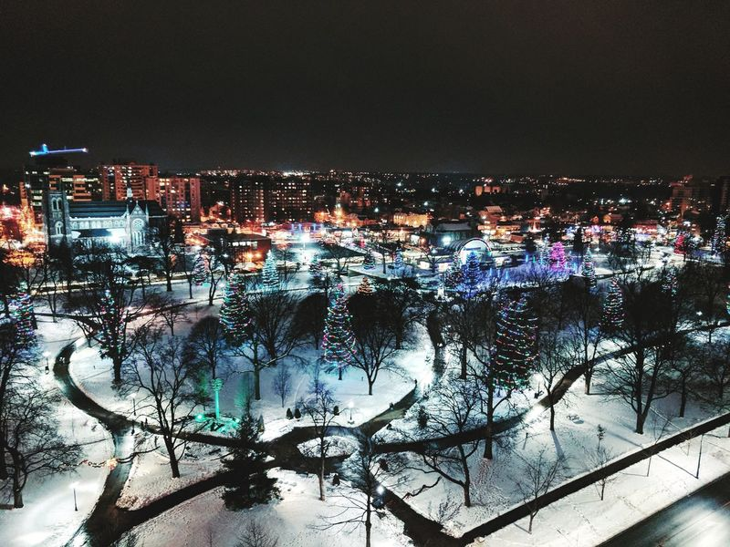 Winter Wonderland from rooftop. Winter Wonderland Winter Illuminated Cityscape Night Urban Skyline Outdoors Sky Ice Rink Christmas Lights City Darkness And Light Nightphotography Cityscapes London London Ontario Canada Victoria Park Park