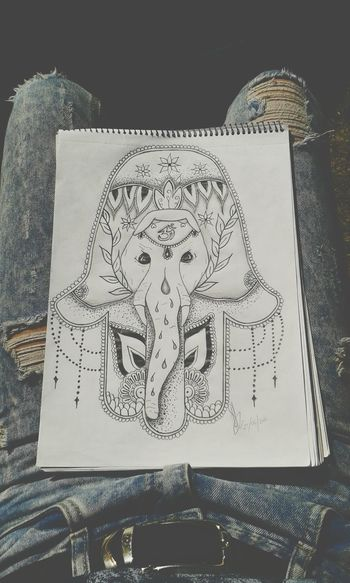 Im just in love with my sketch Drawing Sketch Art Hamsa Hand Elephant OM Ripped Jeans Pencil Drawing Psychedelic Namaste