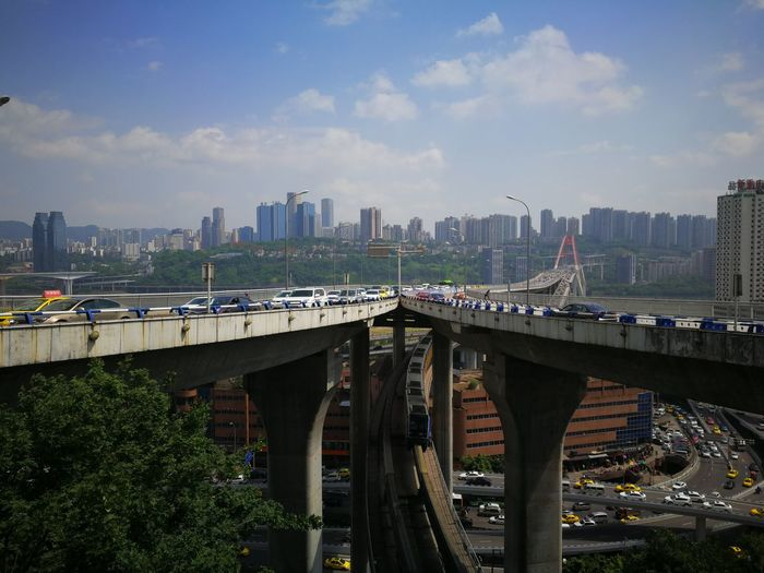 City Cityscape Urban Skyline Skyscraper Modern Bridge - Man Made Structure Downtown District Road Sky Architecture