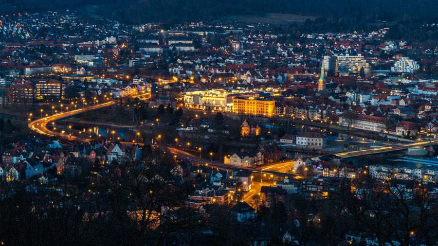Architecture Big City Life City Cityscape Hameln Lights Reflection Rhein Bridge Evening Germany River