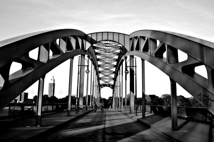 Symmetry Magdeburg Germany Blackandwhite Bnw Shadow Bridge - Man Made Structure Golf Club City Architecture Sky Built Structure Arch Bridge Suspension Bridge Railroad Track Railway Bridge Footbridge Iron - Metal Arch Bridge Architectural Column