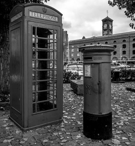 K6 Telephone kiosks and Post Box, Saint Katharine's Dock, Wapping, London Telephone Booth Architecture Warehouse Docklands FUJIFILM X-T2 London Monochrome Photography Black And White FUJIFILMXT2 Wapping Monochrome Architecture Docks Wharf Telephone Box Telephone Kiosk