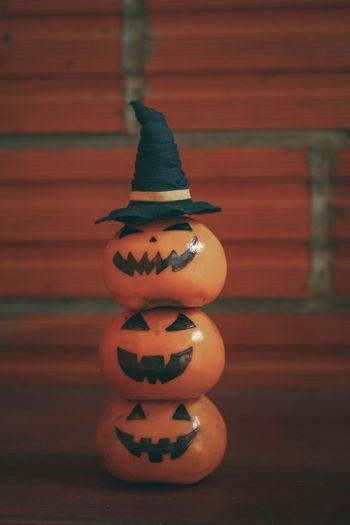 Close-up of pumpkin on wood