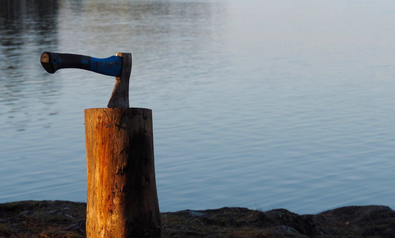 water, no people, outdoors, focus on foreground, day, wooden post, river, nature, wood - material, close-up, beauty in nature