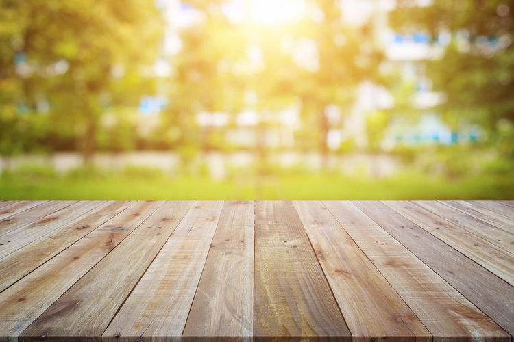 Close-up of wooden table in park