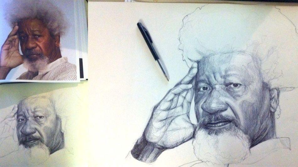 Bic Sketches Bicsketch Wole Soyinka Portrait Poetry Biro