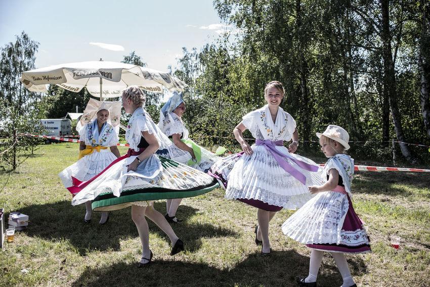 Brandenburg Byhleguhre Dancing Folk Costume Hahnrupfen Germany Girls Lusatia Real People Summer Village Life